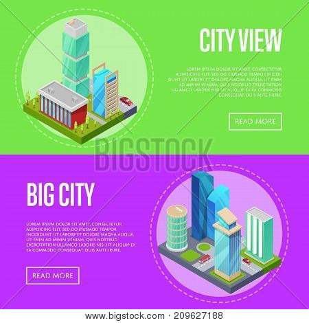 Futuristic architecture cityscape banners. Skyscrapers, apartment, office, houses and streets with city traffic movement of car isometric 3D objects. Downtown business district vector illustration.