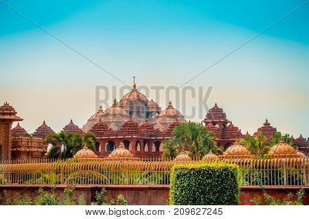 Jaipur, India - September 19, 2017: Beautiful view of Akshardham Temple in New Delhi, India. Akshardham complex is a Hindu mandir and a spiritual-cultural campus in India.