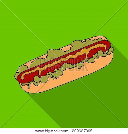 Hot dog, single icon in flat style.Hot dog vector symbol stock illustration .