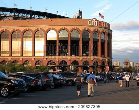 NEW YORK - SEPTEMBER 22: The Jackie Robinson Rotunda and fans at Citi Field on September 22, 2017 in New York. The rotunda is the entrance to the baseball home of the New York Mets.