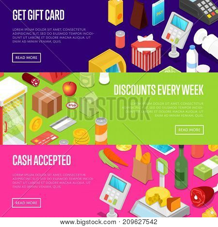 Supermarket shopping discounts every week isometric posters. Retail gift cards proposition for foods, drinks and goods. Cash, credit card terminal or online payment service vector illustration.