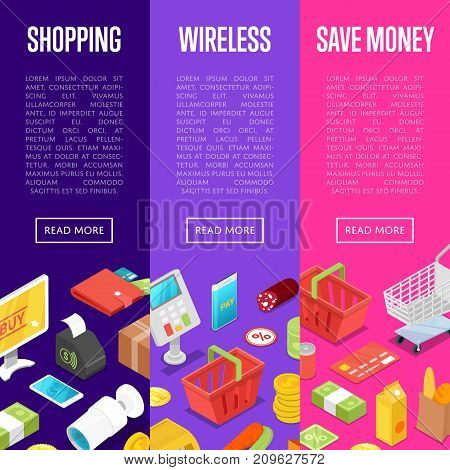 Supermarket online shopping isometric posters. Save money retail proposition. Money, credit card, payment terminal, shopping basket, cardboard box, trolley cart, smartphone vector illustrations.