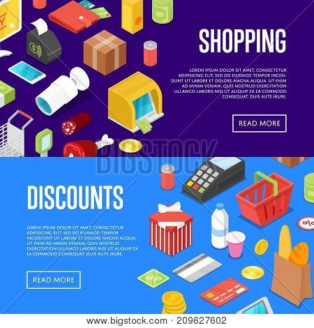Supermarket shopping isometric posters. Retail discount proposition for foods, drinks and goods. Money, credit card, payment terminal, shopping basket, cardboard box, smartphone vector illustrations.