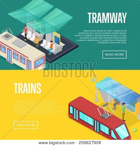 Tramway waiting station isometric 3D posters. Urban and countryside traffic concepts with transport stops vector illustration. City public transport, comfortable moving, trains passenger platform.