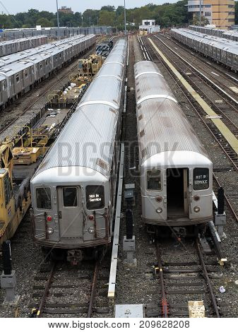 NEW YORK - SEPTEMBER 6: Number 7 subway trains lined up in the Corona Yard near in Queens on September 6, 2017 in New York. The NYC rapid transit has the largest annual ridership in the USA.