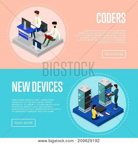 Data centre upgrading service isometric posters. Global communication network, cloud database coding and administration. Data center with hosting servers equipment and staff vector illustration