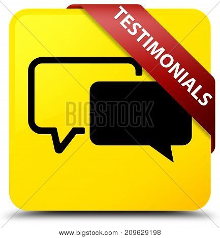 Testimonials Yellow Square Button Red Ribbon In Corner
