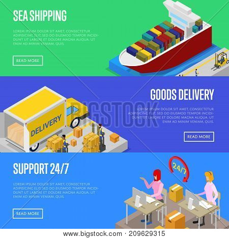 Round the clock shipping service isometric posters. Sea freight shipment, goods distribution, fast delivery transportation, warehouse management. Commercial cargo transportation vector illustration.