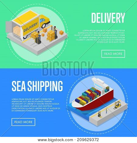 Global sea shipping and delivery service isometric posters. Freight shipment and warehousing, goods distribution, fast delivery transportation. Commercial cargo transportation vector illustration.