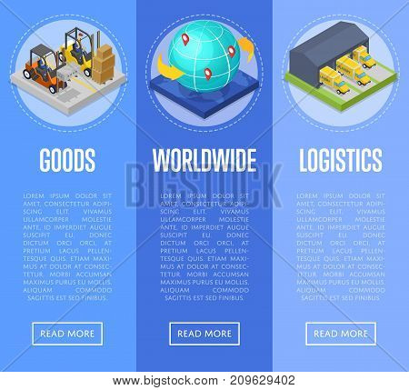 Worldwide shipping and goods delivery isometric posters. Freight shipment and warehousing, logistics and distribution, fast delivery transportation. Commercial cargo transportation vector illustration