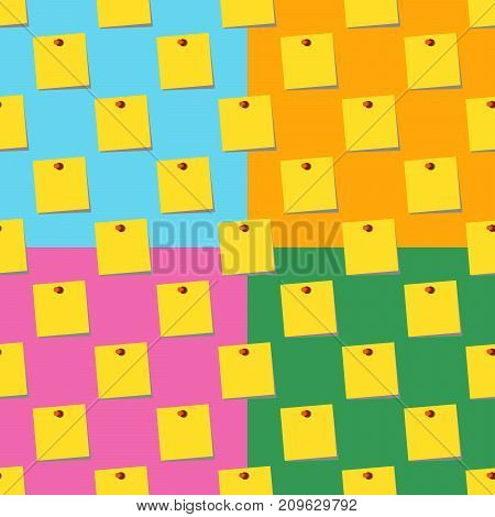 sticky notes memo yellow Seamless pattern set on colors backgrounds. Flat design Vector Illustration eps10
