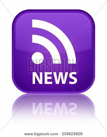 News (rss Icon) Special Purple Square Button