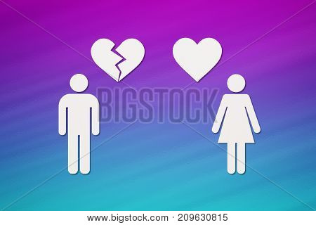 Paper woman with heart and man with broken one on colorful background. Unrequited love or divorce concept. Abstract conceptual image