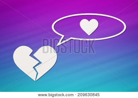 Paper broken heart is thinking about love on colorful background. Abstract conceptual image