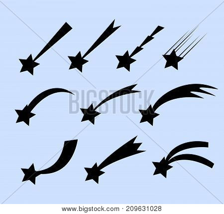 Falling stars  set. Shooting stars isolated from background. Icons of meteorites and comets. Falling stars with different tails.