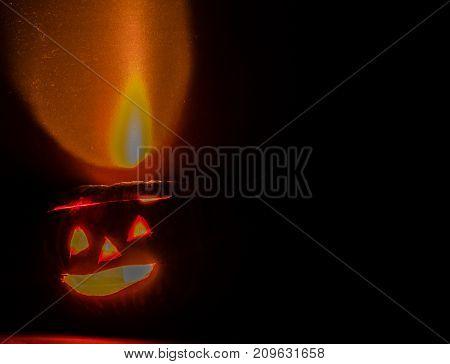 Lit Jack-o-lantern Casting Reddish Glow