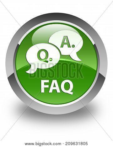 Faq (question Answer Bubble Icon) Glossy Soft Green Round Button