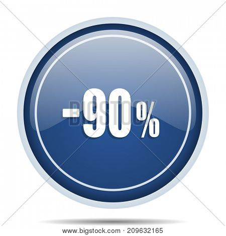 90 percent sale retail blue round web icon. Circle isolated internet button for webdesign and smartphone applications.