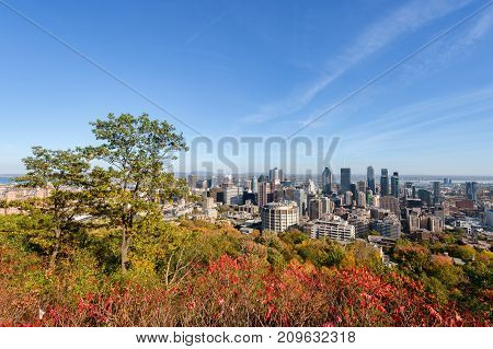 Montreal, Canada - 18 October 2017: Montreal Skyline With Autumn Foliage From Mont Royal Kondiaronk
