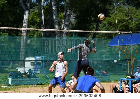 Orenburg, Russia, 9-10 June 2017 Year: Boys Playing Beach Volleyball