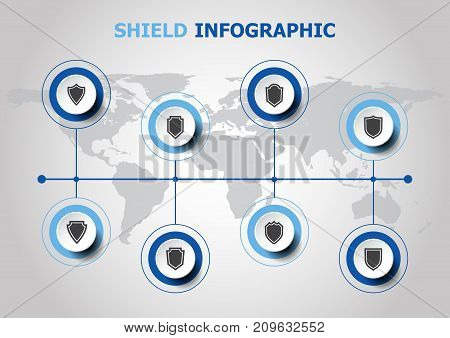 Infographic design with shield icons, stock vector