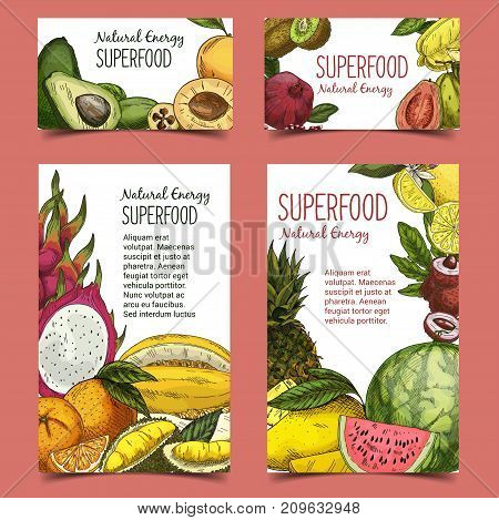 Poster or banner with fruits. Ripe avocado and raw sliced kiwi, apricot and pomegranate, watermelon and melon, passionfruit and lemon, pineapple and ananas, orange. Agriculture and food theme