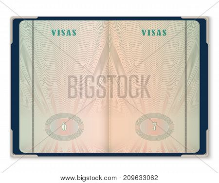 Open blank pages of passport. Template for tourist visa pages on document. International identification opened sheets of paper. Foreign vacation and travel, immigration and identification theme