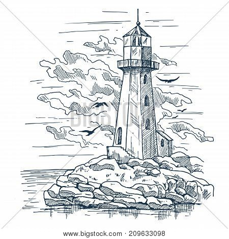 Island with rocks and lighthouse sketch, birds near clouds. Island with beacon or searchlight that light path for sailors. Marine hazard detection and seashore, sea and ocean, architecture theme