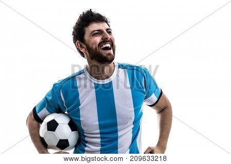 Argentinian athlete / fan celebrating on white background