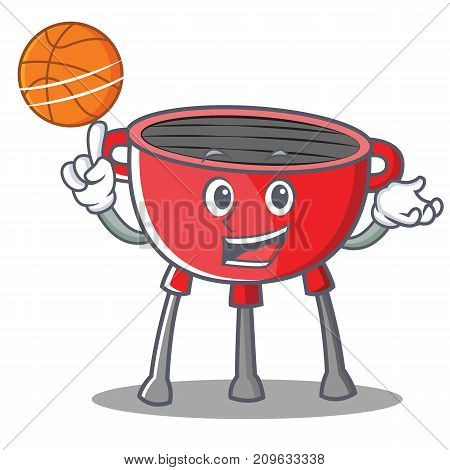 With Basketball Barbecue Grill Cartoon Character Vector Illustration
