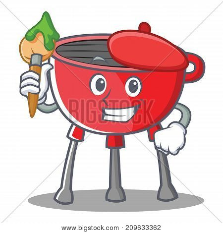 Artist Barbecue Grill Cartoon Character Vector Illustration