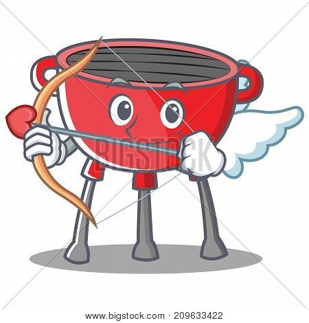 Cupid Barbecue Grill Cartoon Character Vector Illustration
