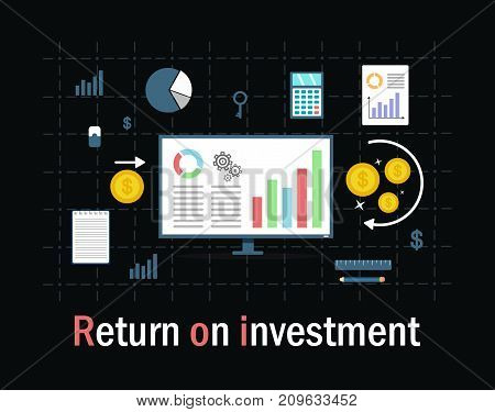 Return on investment, ROI, Business, profit, flat vector conceptual banner illustration with icons isolated on black background