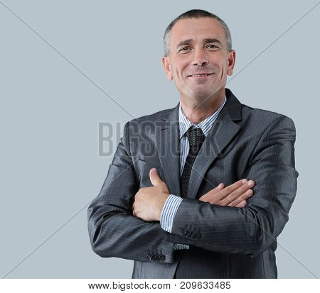 portrait of a friendly businessman in a gray business suit and t