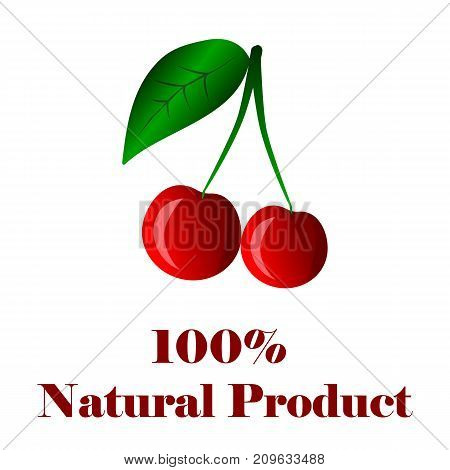 100 percent natural product cherry on white background