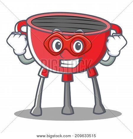 Super Hero Barbecue Grill Cartoon Character Vector Illustration