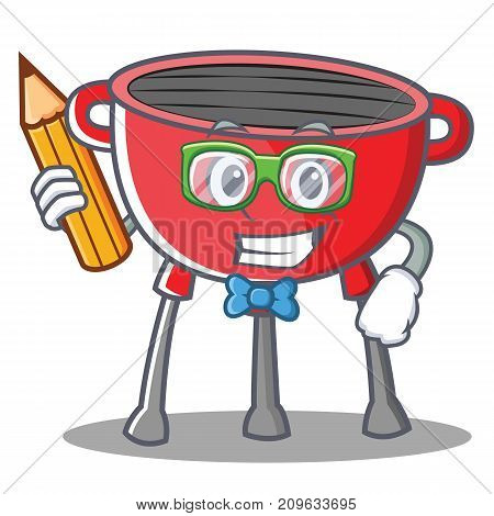 Student Barbecue Grill Cartoon Character Vector Illustration