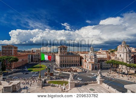 Piazza Venezia (Venice Square) right in the center of Rome seen from Altar of Nation