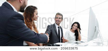 businessmen hand shake, during meeting