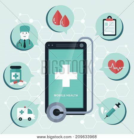 Mobile Health Flat Design