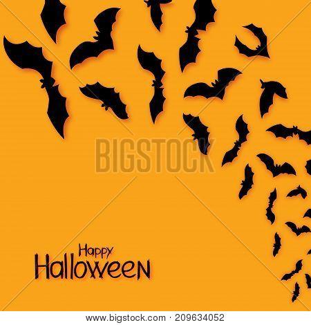 Halloween bats vector background. Hand draw lettering Happy Halloween