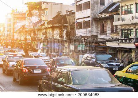 BANGKOK, THAILAND - NOVEMBER 2, 2016: Traffic jam in city road at morning. Bangkok old City, Thailand.