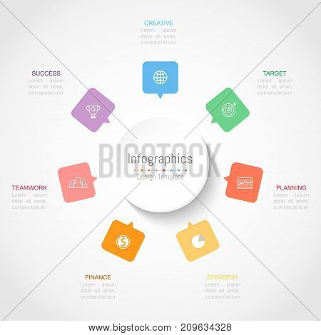Infographic design elements for your business data with 7 options parts steps timelines or processes. Vector Illustration.