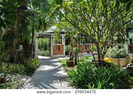 Koh Samui Island, Thailand - June 20, 2017: Territory of hotel Lamai Coconut Beach Resort