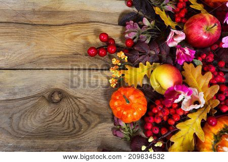 Fall Decoration With Yellow Oak Leaves, Red Berries, Pink Flowers, Copy Space