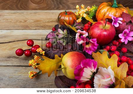 Fall Decoration With Red Berries, Rowan Leaves, Apples, Pink Flowers