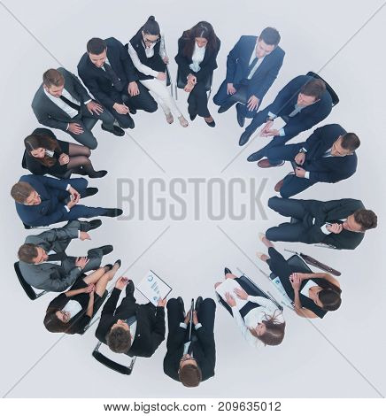 on a white background, the scope of the business team that condu