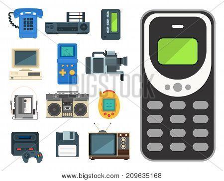 Vintage technologies icon vector set. Camera phone retro audio multimedia player entertainment design. Old electronic gadget communication illustration.