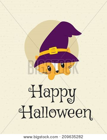 Happy Halloween card design, cute cat wearing witch hat and peeking cartoon vector