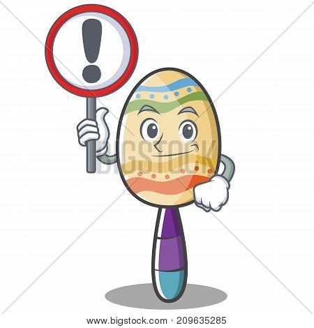 With sign maracas character cartoon style vector illustration